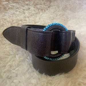 RALPH LAUREN LEATHER AND TURQUOISE BELT